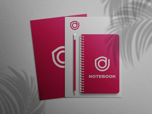 Notebook con mockup di carta intestata psd premium