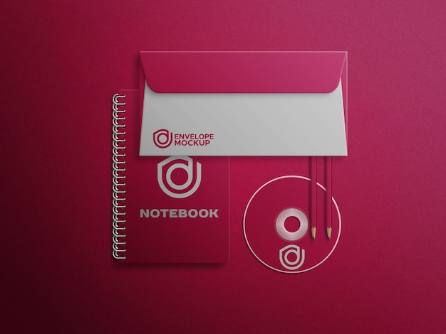 Notebookcd disco e busta mockup