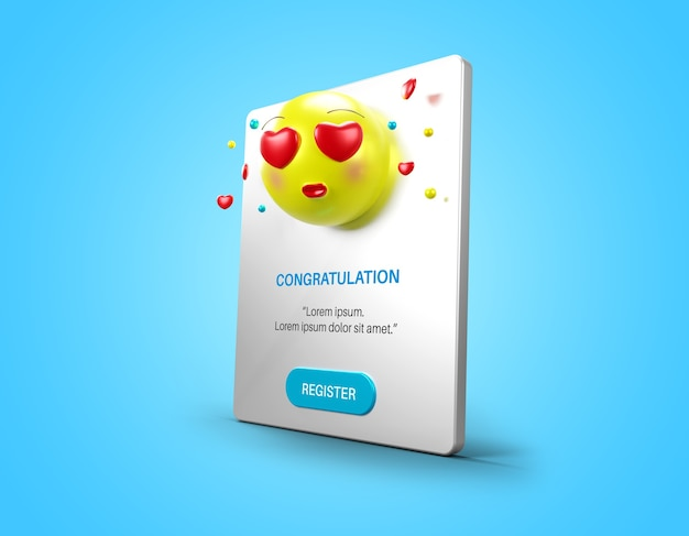 Pagina pop-up di notifica con mockup di emoticon amore isolato