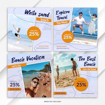 Nstagram feed post bundle modello di viaggio