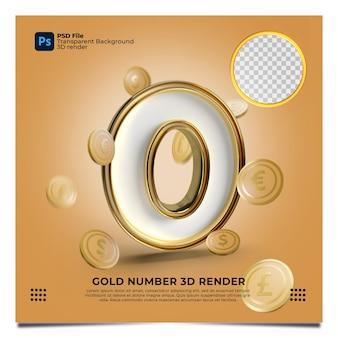 Numero 0 3d render stile oro con elemento