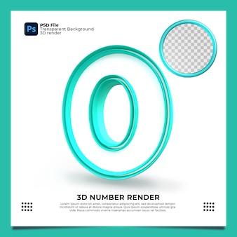 Numero 0 rendering 3d colore verde con elementi