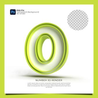 Il numero 0 3d rende il colore verde