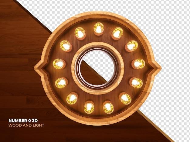 Numero 0 3d render legno con luci realistiche