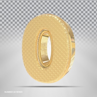 Numero 0 con style 3d golden