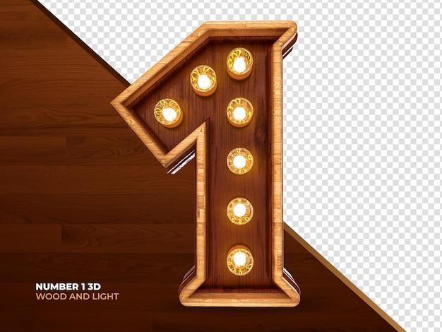 Numero 1 3d render legno con luci realistiche