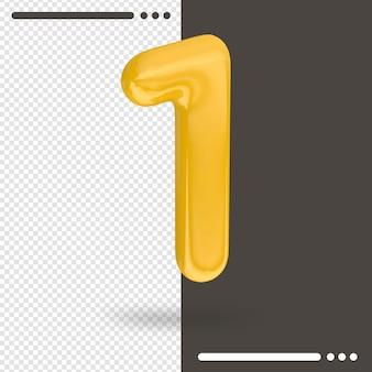 Numero 1 rendering 3d isolato