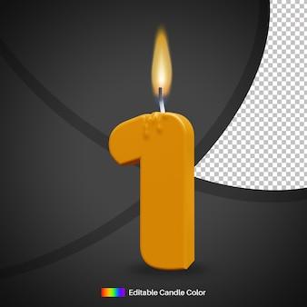 Numero 1 candela di compleanno accesa con fiamma per elemento di decorazione torta