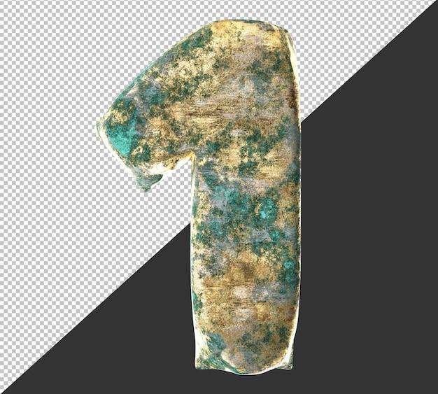 Numero 1 (uno) dal vecchio set di raccolta di numeri metallici in ottone arrugginito. isolato. rendering 3d