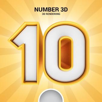 Numero 10 oro 3d rendering