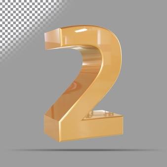 Numero 2 3d d'oro