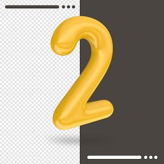 Numero 2 3d rendering isolato