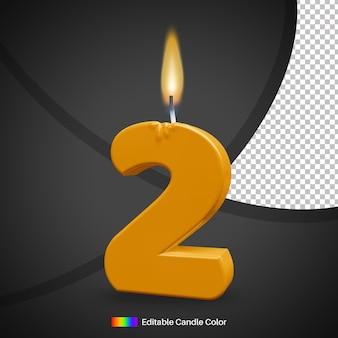 Numero 2 candela di compleanno ardente con fiamma
