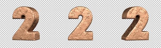 Numero 2 (due) dal set di raccolta di numeri in rame. isolato. rendering 3d