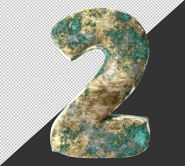 Numero 2 (due) dal vecchio set di raccolta di numeri metallici in ottone arrugginito. isolato. rendering 3d