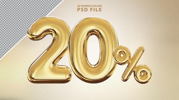 Numero 20 percento 3d rendering di lusso dorato