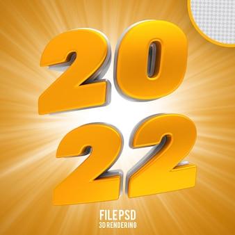 Numero 2022 bandiera d'oro rendering 3d