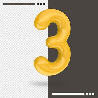 Numero 3 rendering 3d isolato