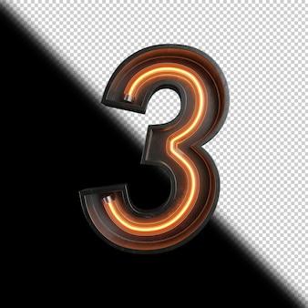 Numero 3 realizzato con luce al neon