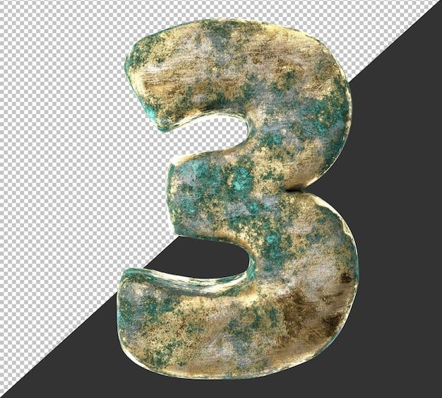 Numero 3 (tre) dal vecchio set di raccolta di numeri metallici in ottone arrugginito. isolato. rendering 3d