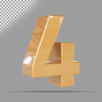 Numero 4 3d d'oro