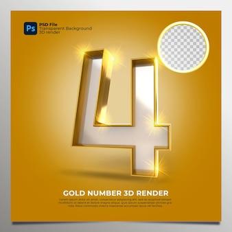 Numero 4 3d render gold style con elementi