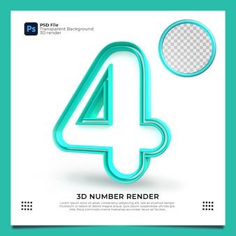 Numero 4 3d render colore verde con elementi