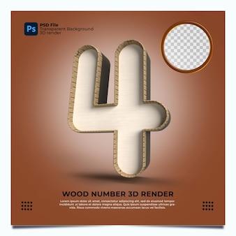 Numero 4 3d render in stile legno con elementi