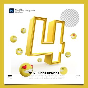 Numero 4 3d render colore giallo con elementi