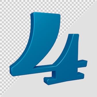 Numero 4 nel rendering 3d