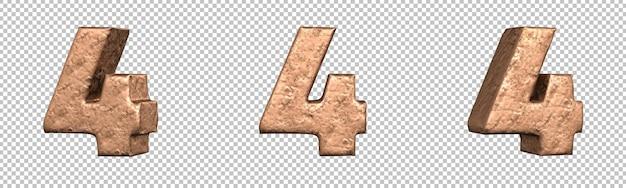 Numero 4 (quattro) dal set di raccolta di numeri in rame. isolato. rendering 3d