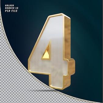 Numero 4 rendering 3d di lusso dorato