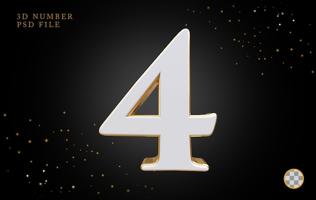Numero 4 con rendering 3d in stile dorato