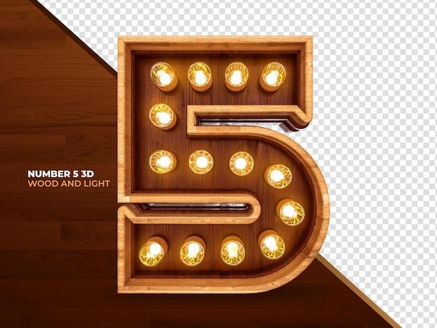 Numero 5 3d render legno con luci realistiche