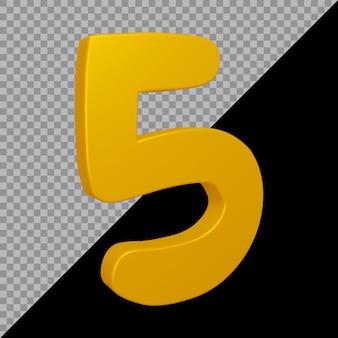 Numero 5 nel rendering 3d