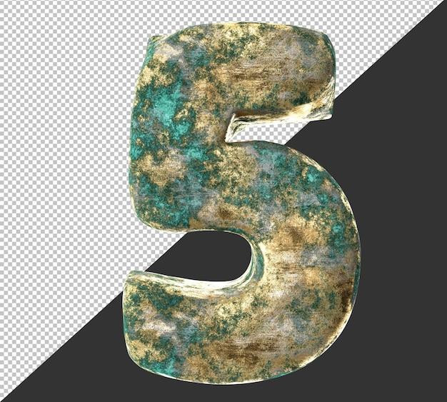 Numero 5 (cinque) dal vecchio set di raccolta di numeri metallici in ottone arrugginito. isolato. rendering 3d