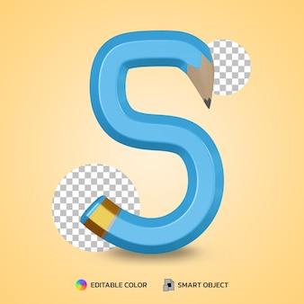 Numero 5 stile di testo di colore matita flessibile isolato rendering 3d
