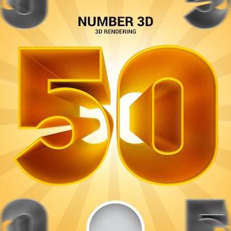Numero 50 oro 3d rendering