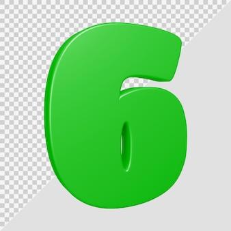 Numero 6 nel rendering 3d