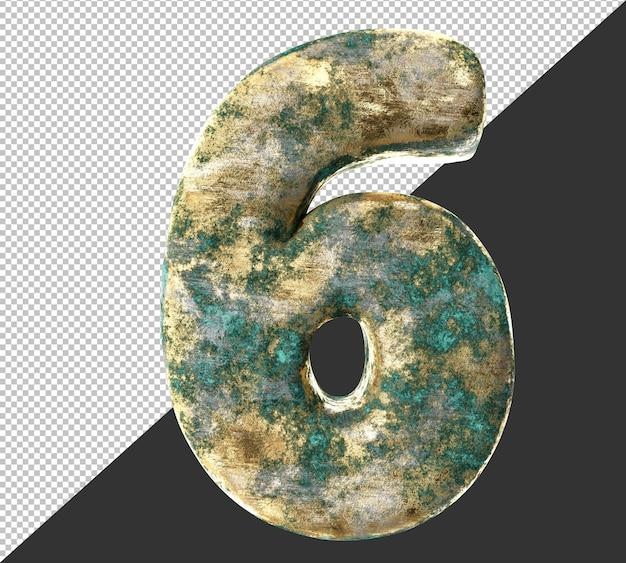 Numero 6 (sei) dal vecchio set di raccolta di numeri metallici in ottone arrugginito. isolato. rendering 3d