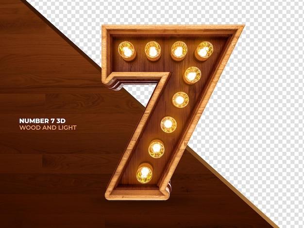 Numero 7 3d render legno con luci realistiche