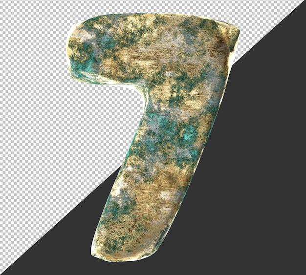Numero 7 (sette) dal vecchio set di raccolta di numeri metallici in ottone arrugginito. isolato. rendering 3d