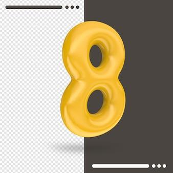 Numero 8 3d rendering isolato