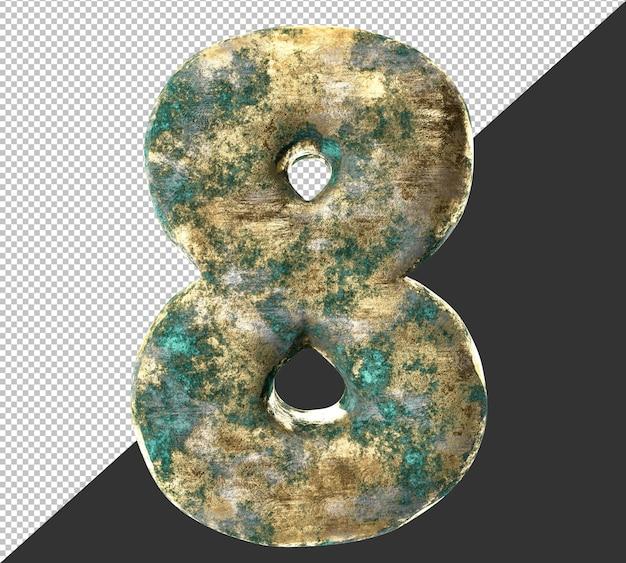 Numero 8 (otto) dal vecchio set di raccolta di numeri metallici in ottone arrugginito. isolato. rendering 3d