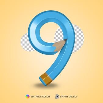 Numero 8 stile di testo di colore matita flessibile isolato rendering 3d