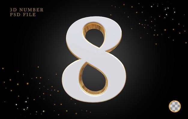 Numero 8 con rendering 3d in stile dorato