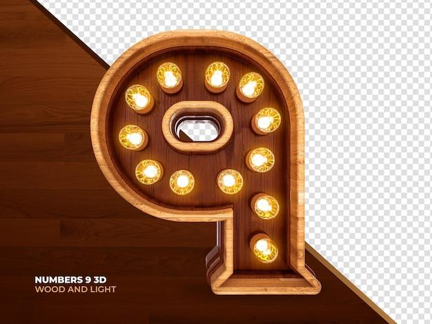Numero 9 3d render legno con luci realistiche