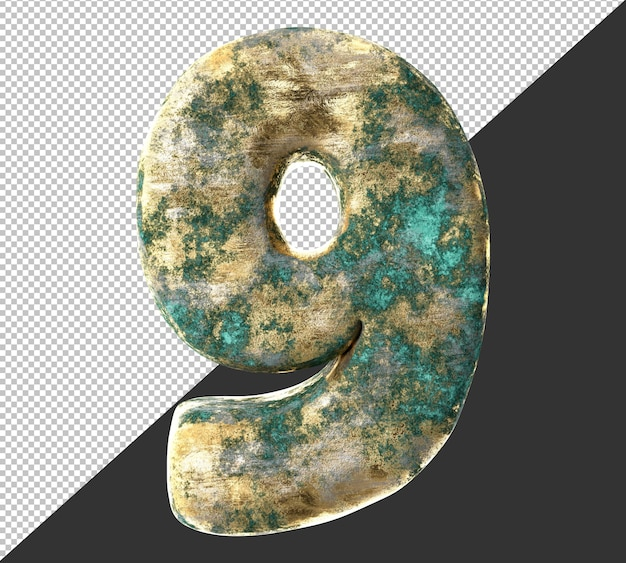 Numero 9 (nove) dal vecchio set di raccolta di numeri metallici in ottone arrugginito. isolato. rendering 3d