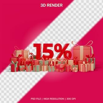 Concetto di sconto sul numero con regali intorno e sfondo trasparente nel design 3d