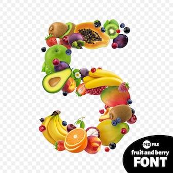 Numero cinque realizzato con frutta